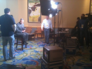 Tim Kurkjian sets up for a live shot at the 2010 WInter Meetings in Orlando.