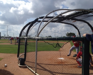 Ohlendorf throws live batting practice to Chad Tracy.