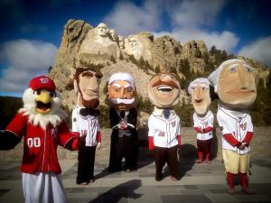 The Presidents pose with Screech at Mt. Rushmore.