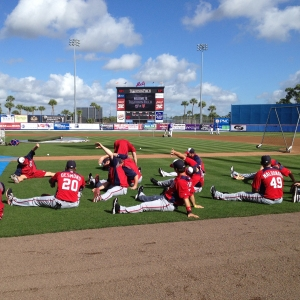 The Nationals stretch before their first spring contest Saturday.