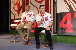 Ian Desmond and Bryce Harper share a laugh at last year's NatsFest.