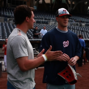 Manziel and Harper chatted before Thursday's game.