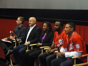 From left to right: Jageler, Rizzo, Gaither, Span and Tarasco speak to D.C. public school students.