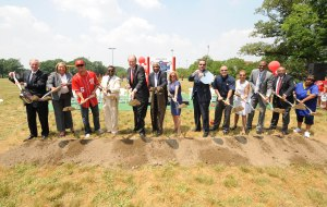 Desmond (third from left) at the groundbreaking of the Washington Nationals Youth Baseball Academy.