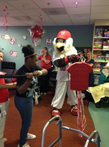 Screech was on hand to add to entertain the patients as well.