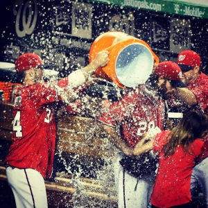Bryce Harper and Craig Stammen nailed Jayson Werth with the postgame Gatorade bath.