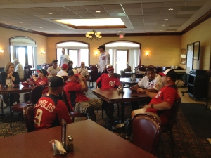 The wounded warriors and celebrities chat over lunch before hitting the driving range.