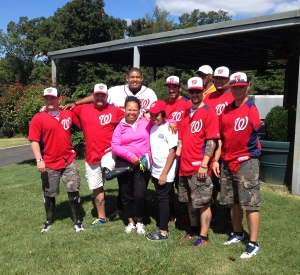 A group of wounded warriors with Omar Miller and Ft. Belvoir program participants.