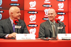 President of Baseball Operations and General Manager Mike Rizzo, left, and new Manager Matt Williams shared a smile during Williams' introductory press conference.