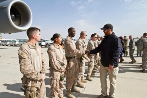 Washington Nationals first baseman Adam LaRoche meets U.S. Marines at Camp Leatherneck in Afghanistan.