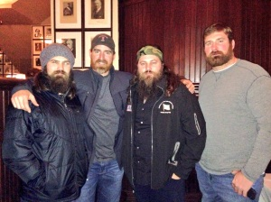 From left to right, Jep Robertson, Adam LaRoche, Willie Robertson and Matt Light at the Occidental Grill on Friday night, after returning from the 2013 Chairman USO Holiday Tour.