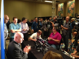 Nationals Manager Matt Williams chatted with writers and television reporters on Tuesday at the Winter Meetings.