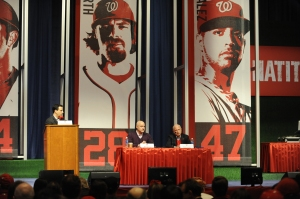 Nationals Principal Owner Mark Lerner, right, along with President of Baseball Operations and GM Mike Rizzo at NatsFest, 2013.