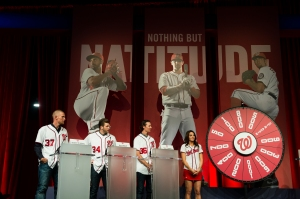 L-R, Stephen Strasburg, Bryce Harper and Tyler Clippard play Fields of Fortune