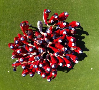 The Nationals' quadcopter captures a pre-workout huddle (Photo credit: Donald Miralle)