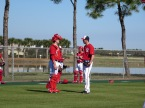 Doug Fister, right, talks with Chris Snyder after his bullpen session.