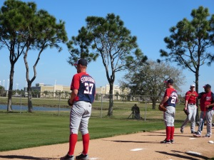 Stephen Strasburg and Jordan Zimmermann work in the bullpen.