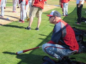 Manager Matt Williams watches over the bullpen sessions.