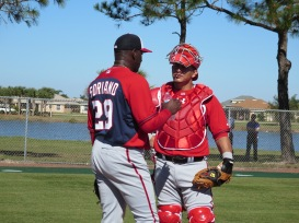 Rafael Soriano talks things over with Wilson Ramos.