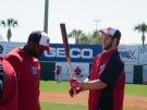 Denard Span and Bryce Harper during batting practice.