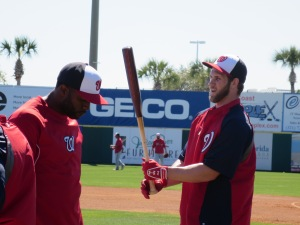 Denard Span and Bryce Harper during batting practice.