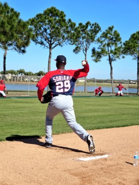 Rafael Soriano throws his first bullpen of the spring.