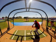 Bryce Harper in the batting cage. (Photo credit: Donald Miralle)