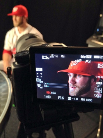 Bryce Harper gets some time with the Nationals' production crews.