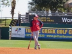 Manager Matt Williams watches during batting practice.