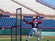 Manager Matt Williams throws batting practice.