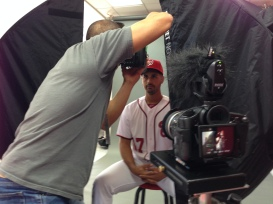Gio Gonzalez is ready for his close-up with photographer Donald Miralle.