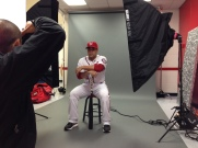 Sandy Leon poses during his photo shoot.