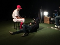 Stephen Strasburg works with the photographers during his photo shoot.