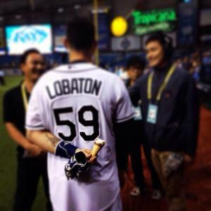 "Jose Lobaton earned the nickname ""Ice Cream Man"" while with the Tampa Bay Rays. (Photo via @RaysBaseball)"