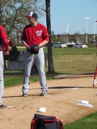 Ross Detwiler works in the bullpen on Sunday.