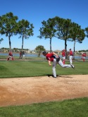Tyler Clippard throws a pitch during his bullpen session.