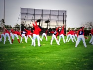 Nationals pitchers and catchers stretch on Saturday, the first day of workouts.
