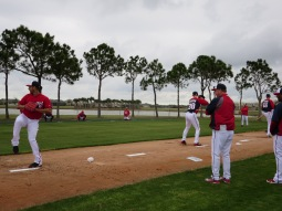 Pitching coach Steve McCatty watches as Gio Gonzalez throws in the bullpen on Saturday.