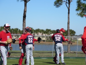 Drew Storen and Ryan Mattheus thank their catchers after their bullpen sessions.
