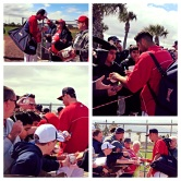 Jerry Blevins, Gio Gonzalez, Stephen Strasburg and Doug Fister sign autographs for fans on Saturday.