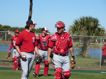 Tyler Clippard and Wilson Ramos chat after Clippard's bullpen session.