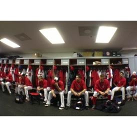 Pitchers listen as Matt Williams holds his first meeting. (Photo via Donald Miralle)