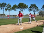 Jerry Blevins works in the bullpen for the first time as a member of the Nationals.