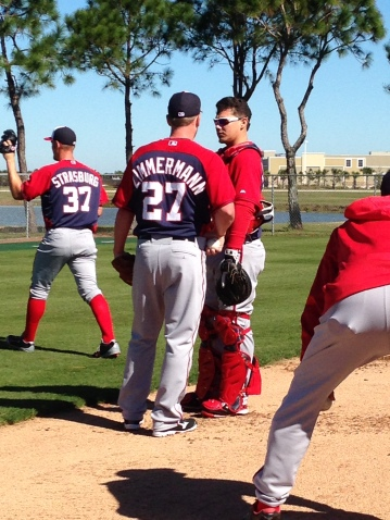 Jordan Zimmermann and Jose Lobaton chat after Zimmermann's bullpen session.