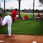 Gio Gonzalez throws a pitch in the bullpen on Saturday.