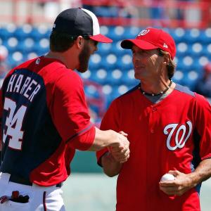 Before Friday's game, Bryce Harper caught a first pitch from former NFL quarterback Doug Flutie.