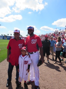 Denard Span poses for a picture with Sergeant Morris and his grandson Javone.