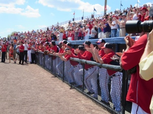 Fans and Nationals players gave Sergeant Morris a standing ovation.