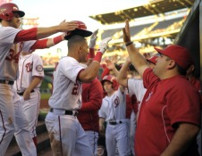 Ian Desmond gets a warm welcome after hitting his second career Grand Slam.