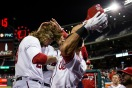 Jayson Werth gets a warm welcome in the Nationals' dugout after his grand slam.